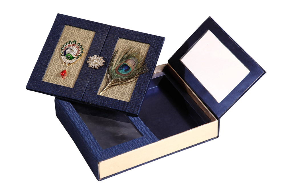 Wedding Card Box With Mor Pankh Design In Navyblue Golden