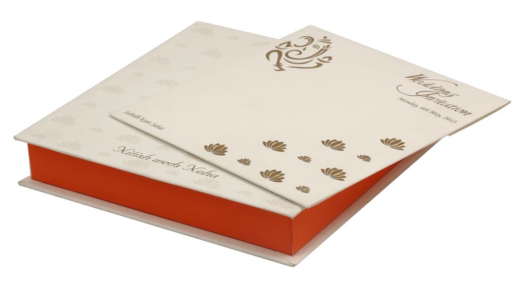 Wedding Card Box with White, Orange & Golden Lotus Design | Indian ...