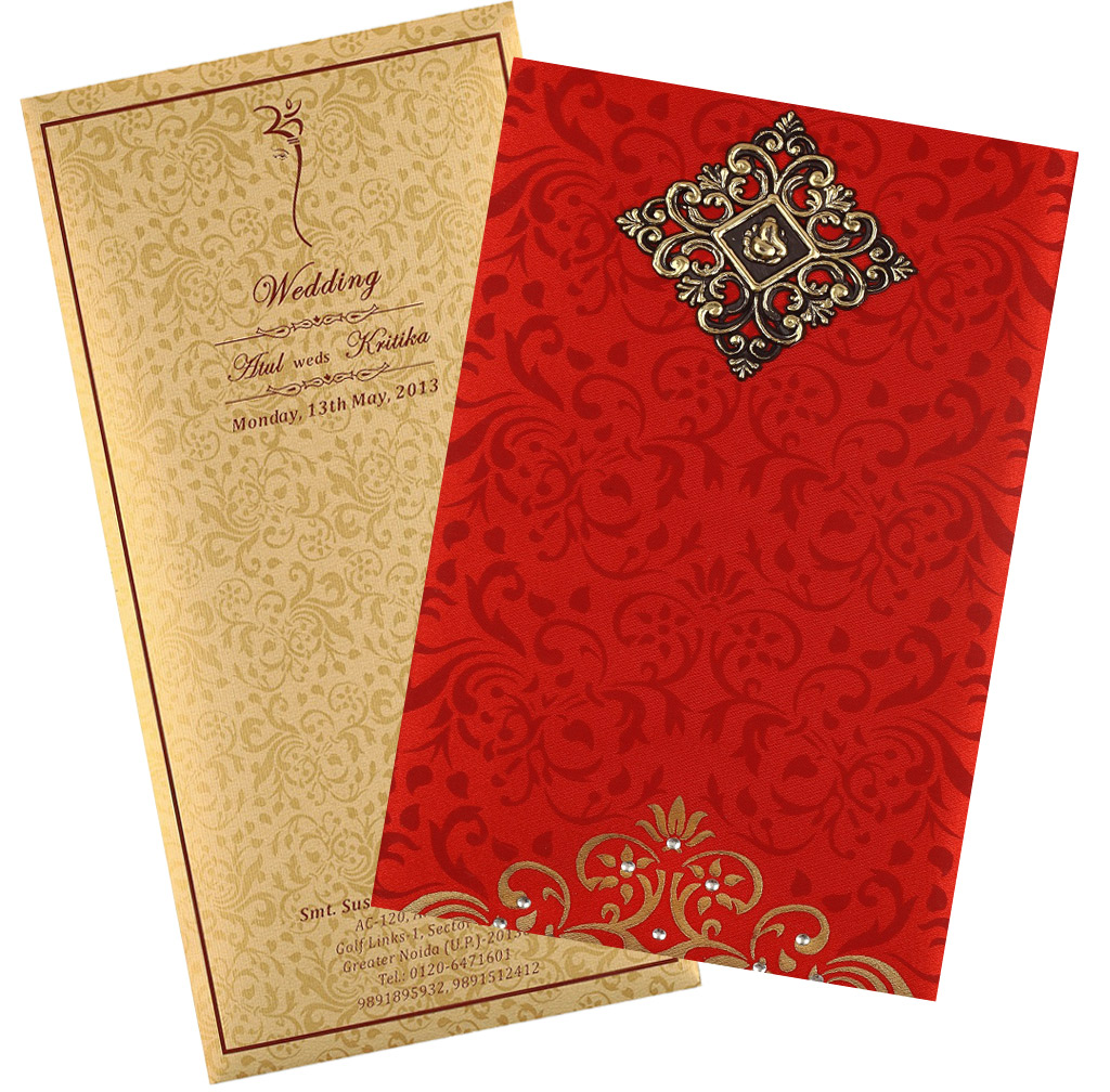 Wedding Card In Elegant Gift Style With Red Golden Satin