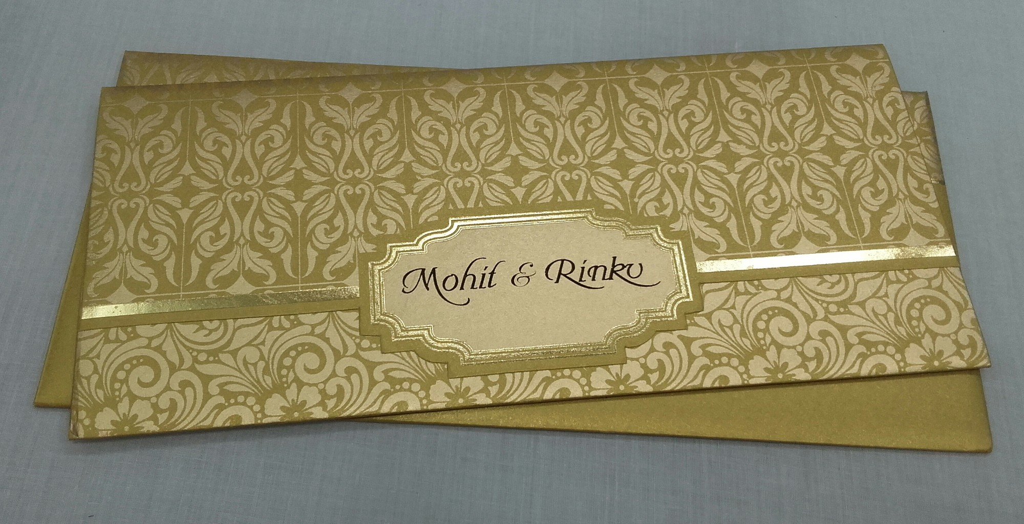Golden Colour Wedding Invite With Floral Design