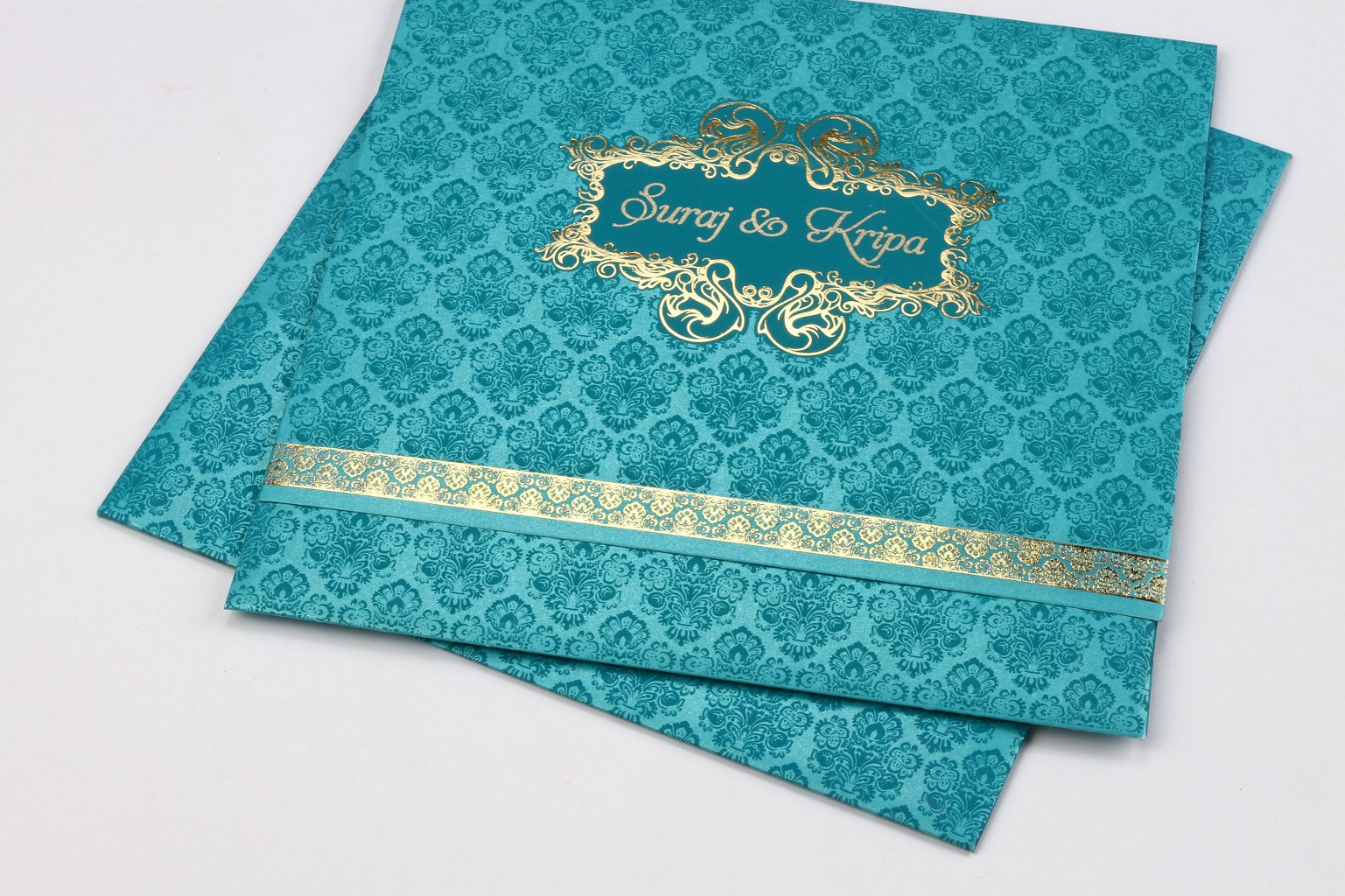 Wedding card in Blue & golden with multicolour inserts - Click Image to Close