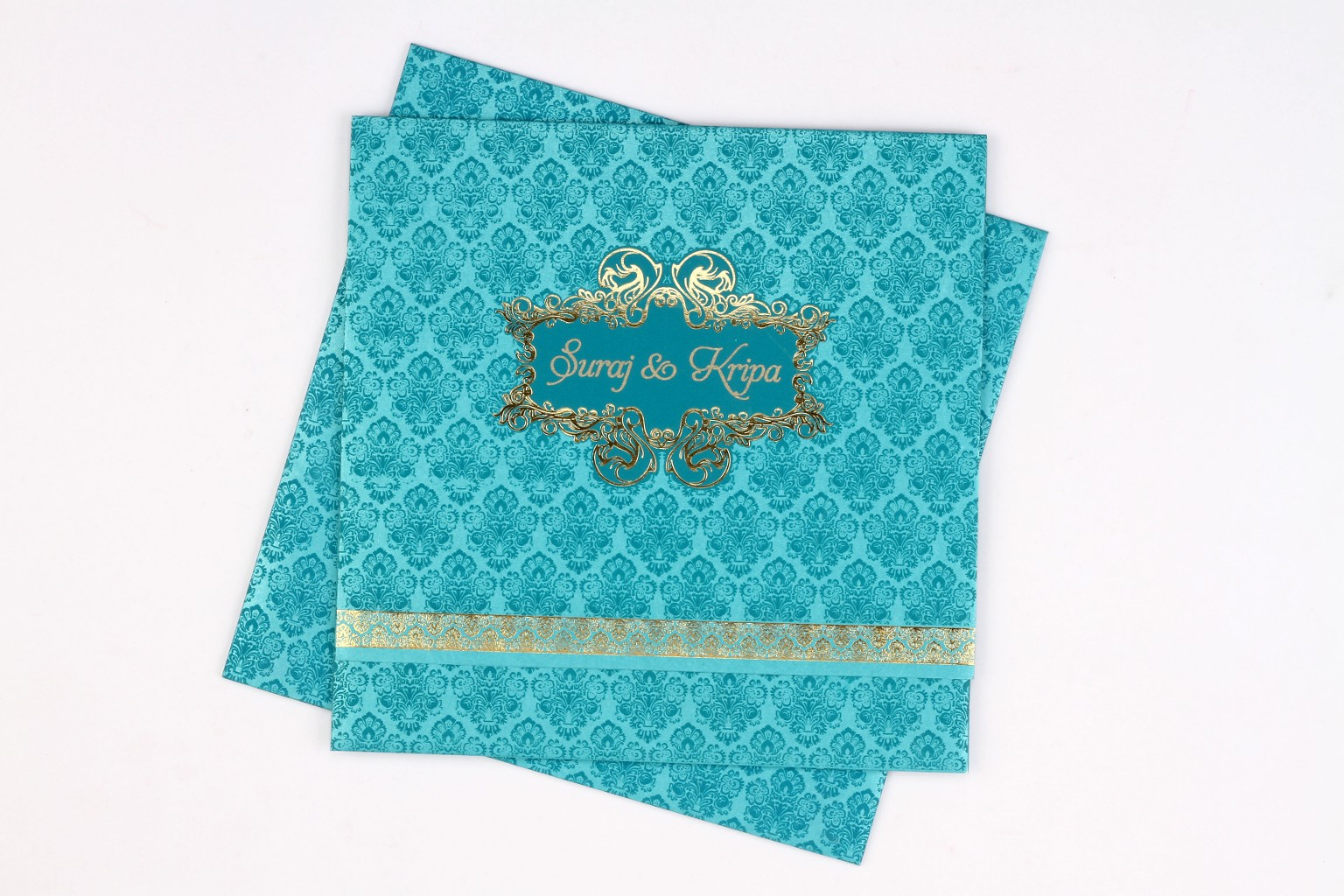 Wedding card in Blue & golden with multicolour inserts
