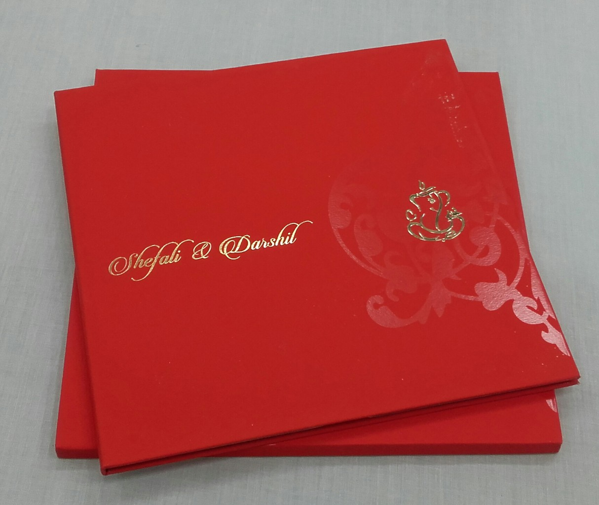 Indian Wedding Card In Red With Traditional Marriage Ceremony Images