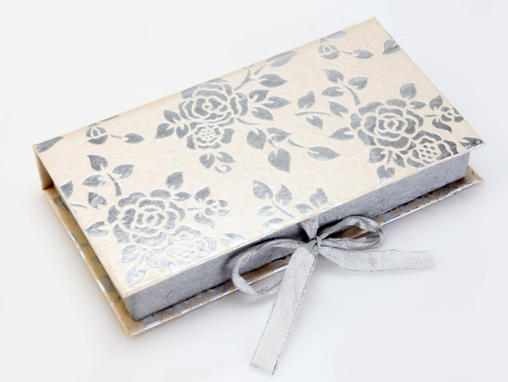 Cash Box in Elegant Fawn and Silver Grey Floral