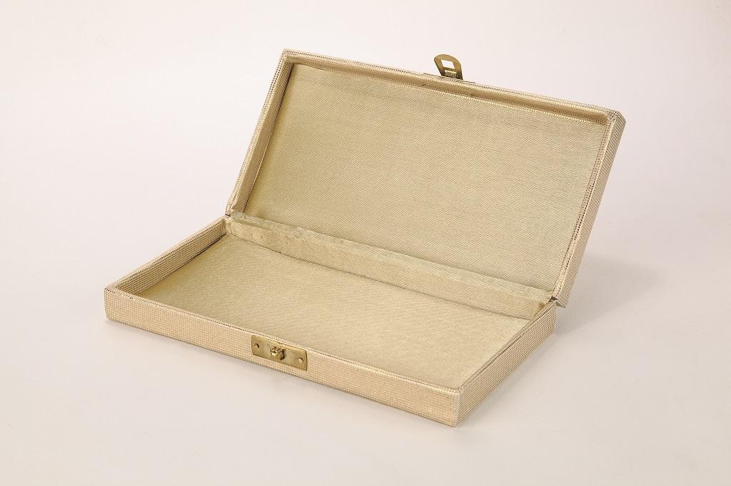 Designer Wedding Card in Embossed Paisley in White & Golden