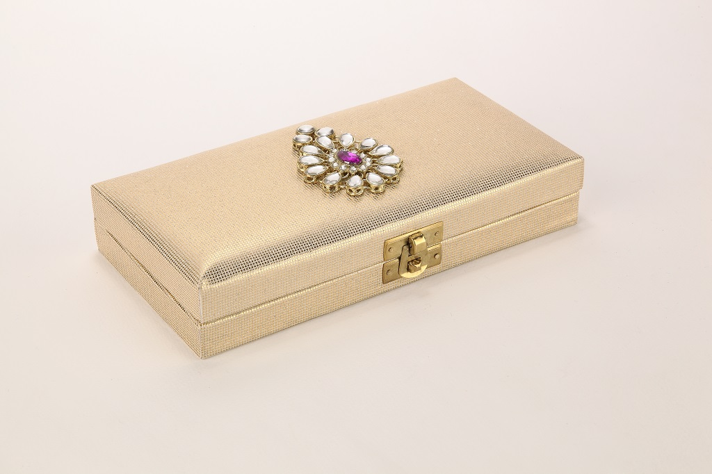 Wedding Cash Box In Kundan Design Golden