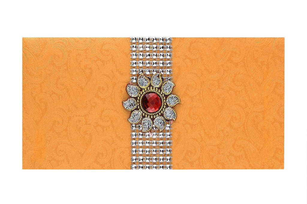 Indian Wedding Envelope In Sunshine Orange Red Brooch Design