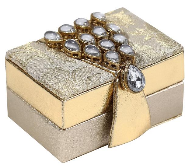 Wedding Favor Shagun Box in Cream and Golden Colour