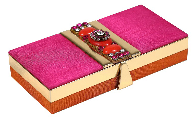 Wedding Favor Shagun Box in Fuchsia and Golden Design