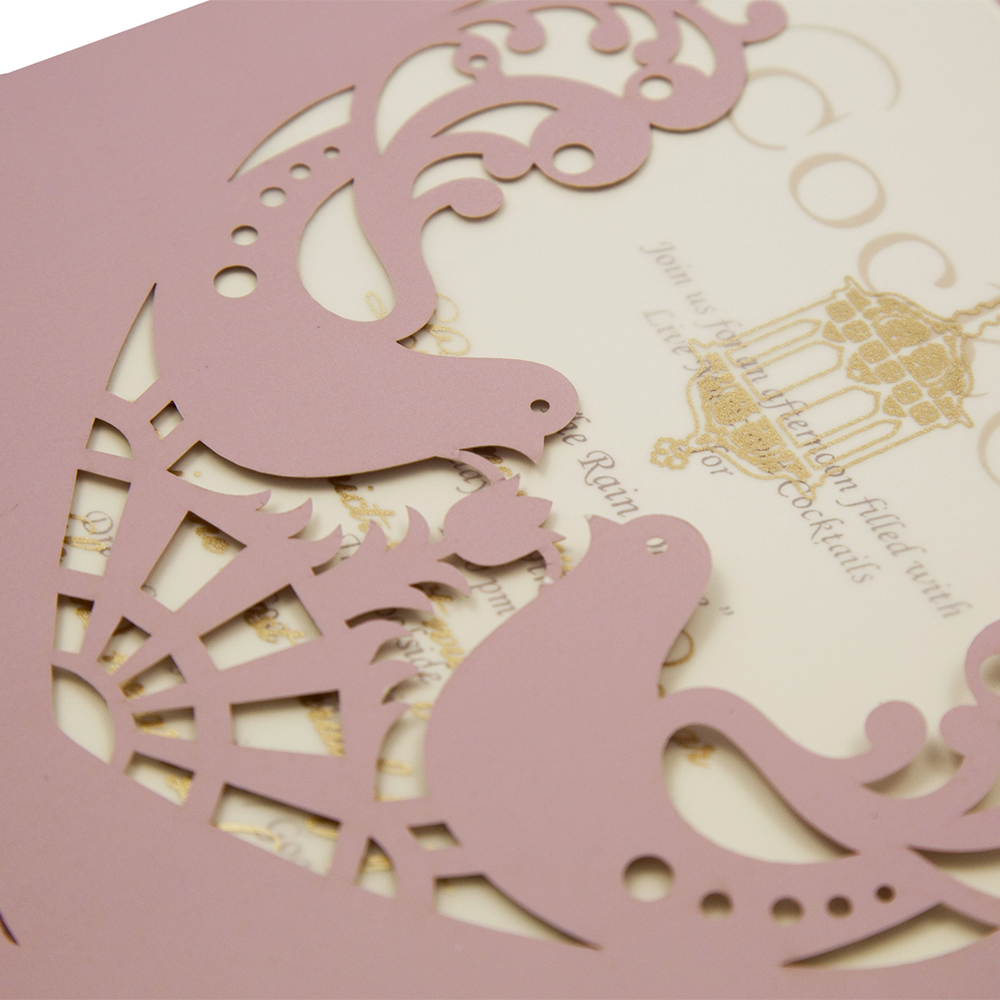 Wedding invitation card in dusty pink with laser cut doves ...