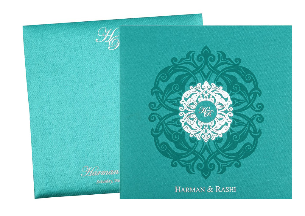 Wedding invitation card in royal aquamarine and silver colour stopboris Gallery