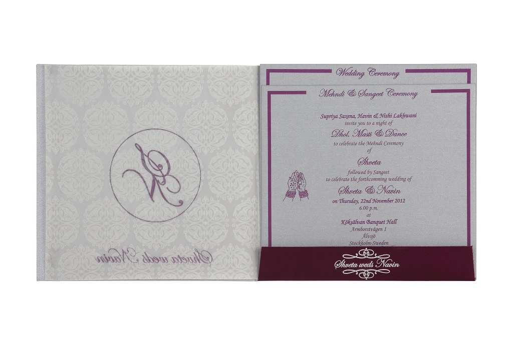 Mehndi Ceremony Cards : Wedding invitation card in royal purple and silver colourwedding
