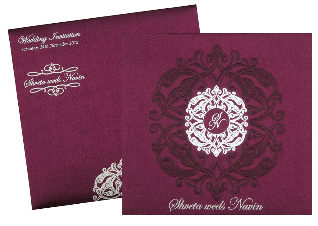 Invitation Cards For Wedding: Wedding Invitation Card In Royal Purple And Silver Colour