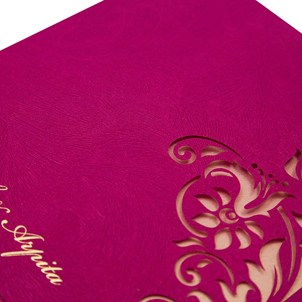 Wedding invitation card in vibrant pink with cut out design - Click Image to Close