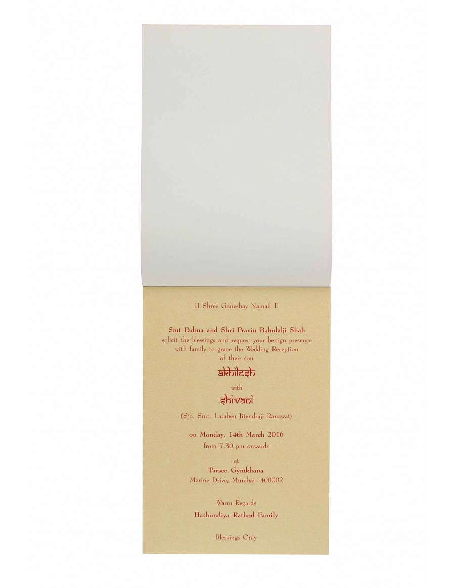 Invitation in Golden with Motif on Red Satin Flap