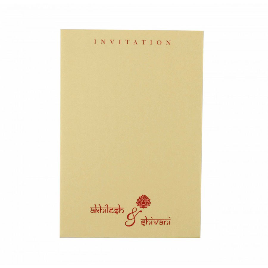 Wedding Invitation in Golden with Motif on Red Satin Flap