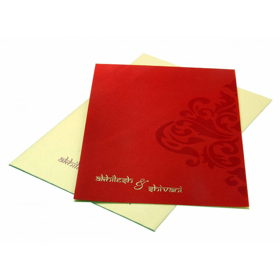 Sample Wedding Invitation in Golden with Motif on Red Satin Flap