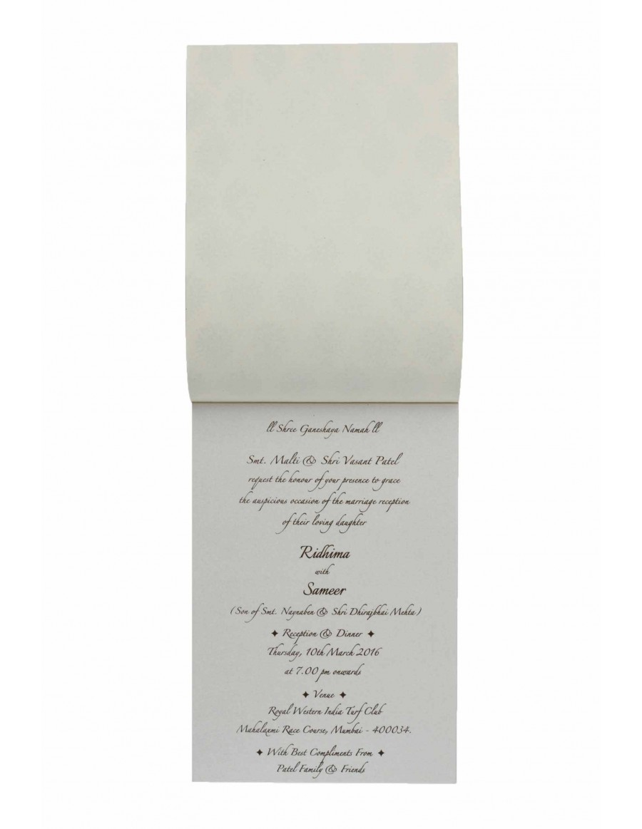 Wedding Invitation in Ivory with Motifs on Ivory Satin Flap