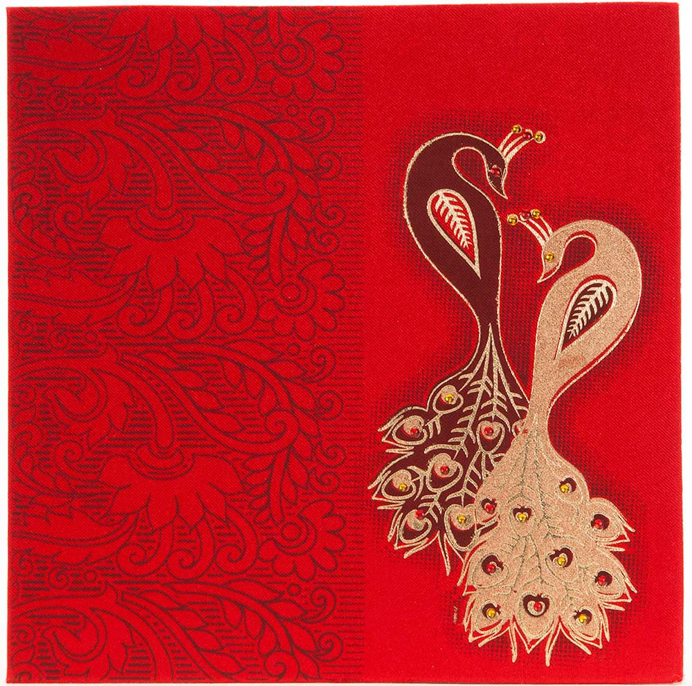Wedding Invitation in Red satin with stone studded peacockWedding