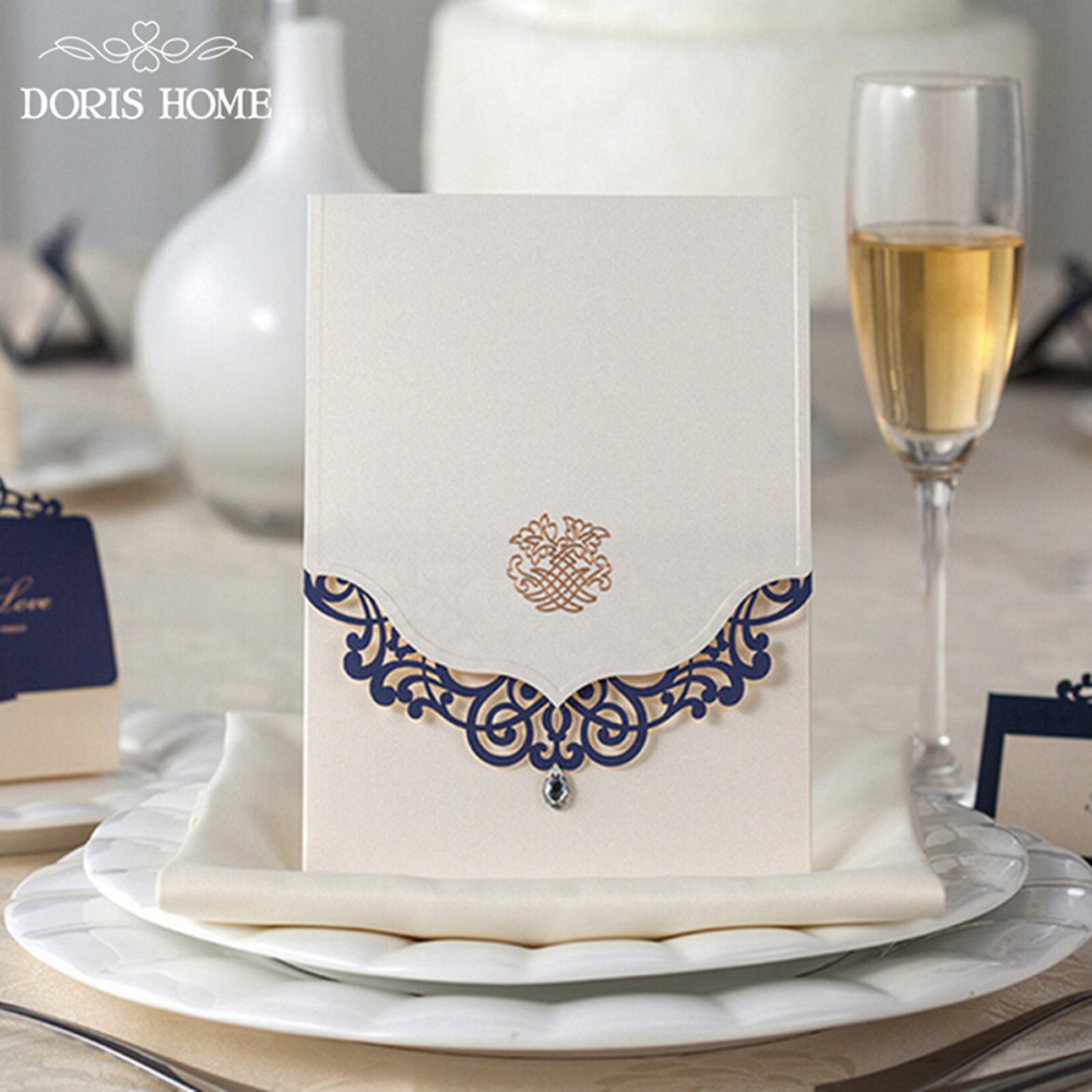 Wedding Invitations Cards With Rhinestone & Blue Laser Cut Flower - Click Image to Close