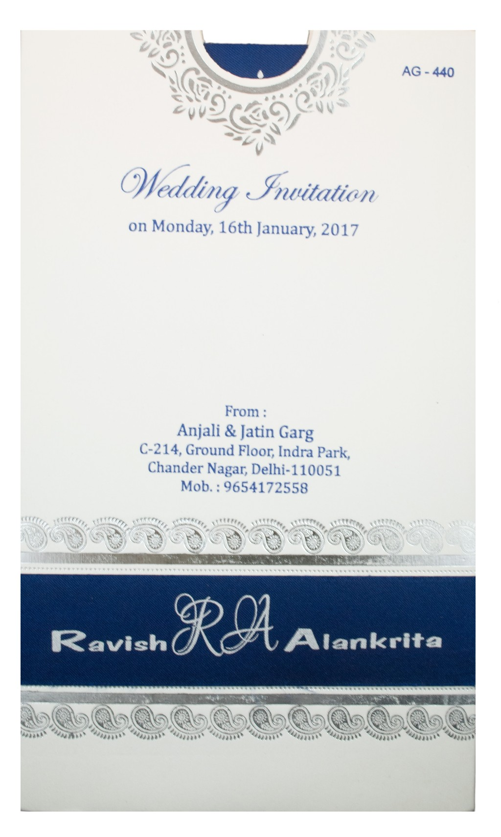 Wedding Invite in blue and white with pullout inserts