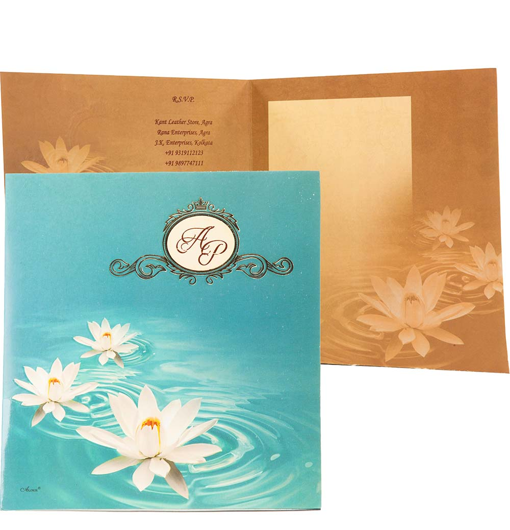 Wedding Invite In Brown And Sky Blue With Lotus Design | Wedding ...