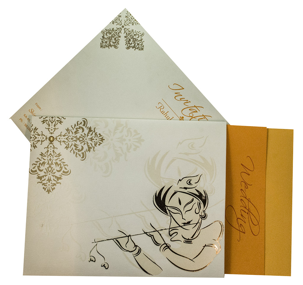 Wedding Invite with Image of Krishna Playing Flute