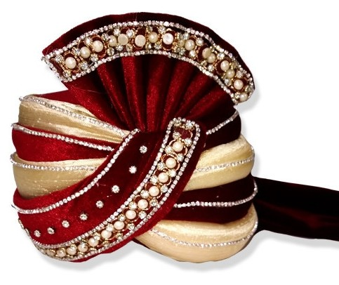 Grooms Turban in Cream and Red decorated with Pearls and Stones