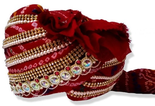 Grooms Turban in Red Bandhej decorated with Stones