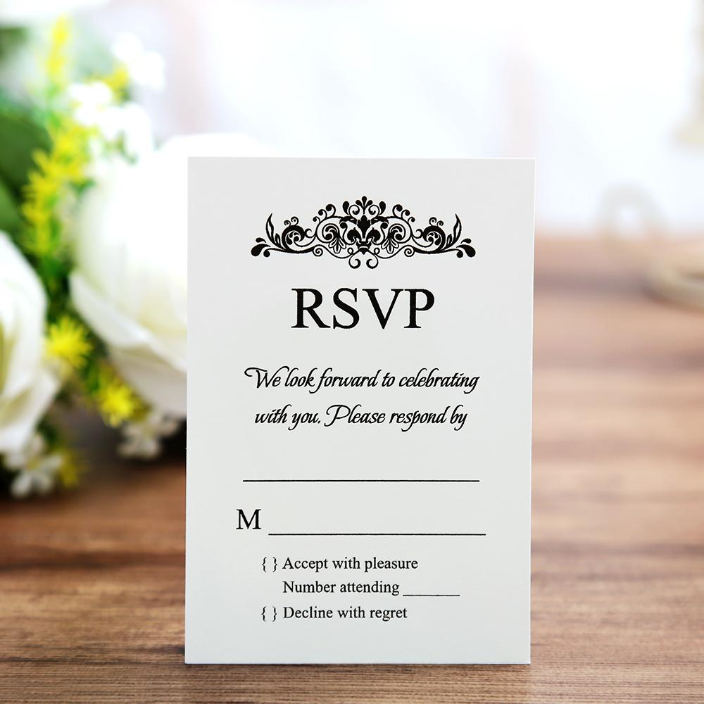 White colour RSVP card wedding stationery with envelope