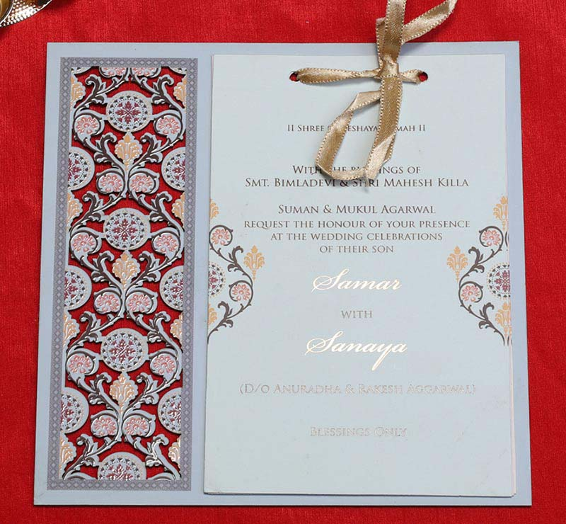 Wooden Floral Indian Wedding Invitation in Light Blue Colour - Click Image to Close