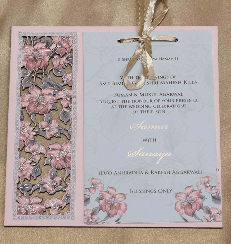 Wooden Floral Indian Wedding Invitation in Light Pink Colour - Click Image to Close