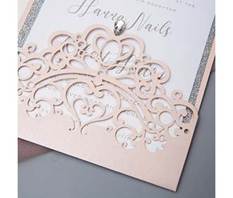 Laser cut crown design with rhinestone wedding invite in multiple colours