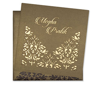 Laser cut floral motifs on a brown cardboard Invitation -