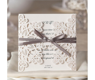 Laser Cut Flower with Coffee Bow knot Wedding Invitations -