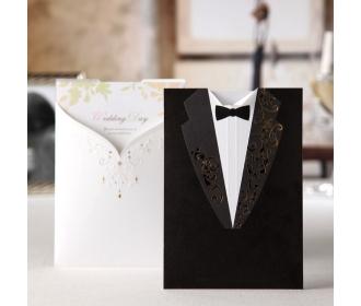 Laser Cut Groom and Bride Engagement Wedding Invitation -