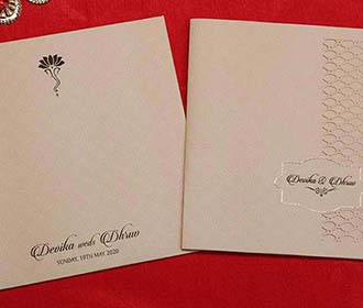 Laser cut Indian wedding Invitation in Beige colour -