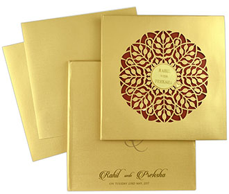 Laser cut Indian wedding invitation in golden colour