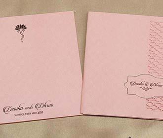 Laser cut Indian wedding Invitation in Peach colour -