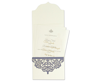 Laser cut invitation card in Ivory and Blue