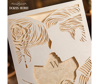 Laser Cut Ivory Bride & Groom Wedding Invitations