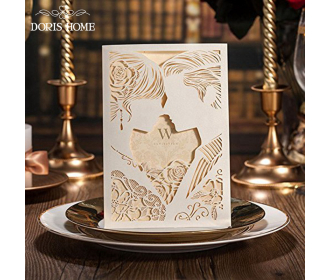 Laser Cut Ivory Bride & Groom Wedding Invitations -