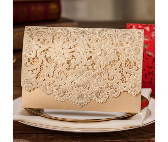 Laser Cut Wedding Invitation with Golden Floral Designs -