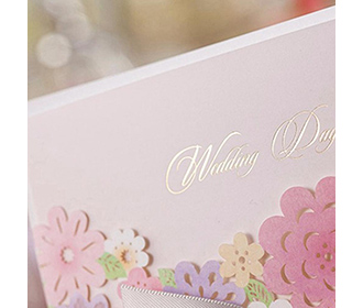 Laser Cut Wedding Invitation with multi colour flowers & bowknot