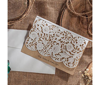 Laser Cut Wedding Invitation with White Floral design -