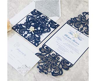Laser cut wedding invite in combination of silver glitter and navy with RSVP