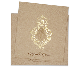 Light brown multifaith wedding card with marble design