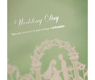 Light Green Spring Laser Cut Wedding invitation Cards with Bride & Groom