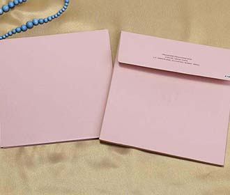 Light Pink Colour Indian Wedding Invitation with Leaf Designs