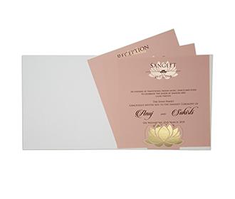 Lotus design multifaith Indian wedding card in rose blush & golden